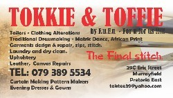 Pattern Makers, Tailors,Seamstress, Alters, Mending , Trimming , Clothing , Canvass.Pretoria east
